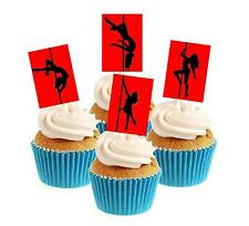 Novelty Pole Dancing Red Mix 12 Edible Stand Up wafer paper cake toppers party