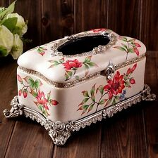 Resin Napkin Tissue Serviette Paper Holder Box Gift White Flower Vintage Cover