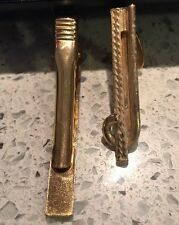 Vintage Jewelry LOT OF 2 Tie Clips GOLD TONE