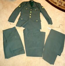 Vintage U.S. ARMY Green Black Horse Uniform Coat Jacket w/ 3 pairs of Trousers