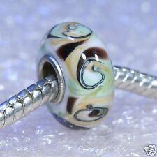 Single Core European Murano Style Glass Bead-Pistachio Cocoa Swirl