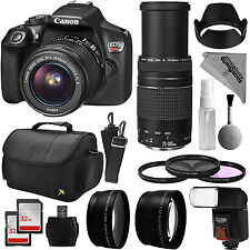 Canon EOS Rebel T6 DSLR Camera + 4 Lens Kit 18-55mm 75-300mm Tele Macro + More