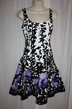 NINE WEST Multicolor Floral Sleeveless Fit & Flare Stretch Cotton Dress Sz 4