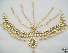 Multilayered Pearl Kundan Matha Patti Indian Bharatnatyam Jewelry