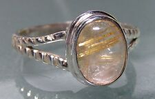 Sterling silver everyday rutilated quartz stone ring UK O½-¾/US 7.75