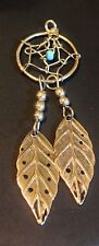 WOMENS GIRLS DREAMCATCHER WIRE CHARM PENDANT SILVERTONE FEATHER 2.25""