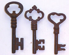 ANTIQUE 1800'S STYLE  IRON SKELETON KEYS LOT OF 3