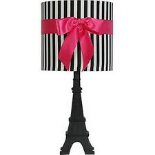 Eiffel Tower Paris Lamp with Black White Shade Ribbon Accent, Modern Home Decor