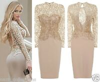 CELEB NUDE GOLD SPARKLE SLINKY FITTED MIDI EVENING PARTY COCKTAIL DRESS 6 -18