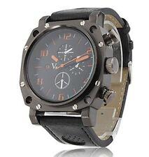 Gladiator - Men's Sport PC Quartz Wrist Watch with Black PU Leather Band Night