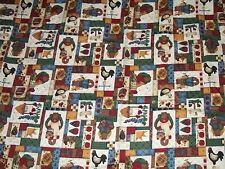 1.5+ yds cotton fabric leslie beck primitive bear angles hearts print country