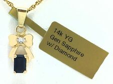 GENUINE 0.85 carats BLUE SAPPHIRE & DIAMONDS 14k Gold PENDANT * FREE Appraisal *