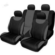 New Sleek Black and Grey Flat Cloth Seat Covers Set For Mazda