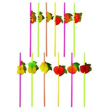 12 x ASSORTED COCKTAIL 3D FRUIT DRINKING STRAWS HAWAIIAN PARTY BBQ HEN STAG