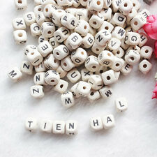 50Pcs Natural Mixed A-Z Alphabet Letter Charms Cube Wood Beads Making 10x10mm