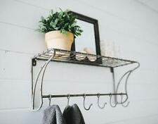 "Wire Wall Shelf with Hooks 24""~Coat Rack~Mud Room~Vintage Style Farmhouse"