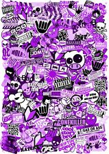 A3 Size JDM Style PURPLE Tint Vinyl Sticker Bomb Sheet Drift Ratlook UK Made