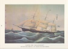 "1974 Vintage Currier & Ives CLIPPER SHIP ""DREADNOUGHT"" SANDY HOOK COLOR Litho"