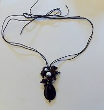 White Stone Genuine Black Agate Beaded Trendy Long Fashion Womens Necklace