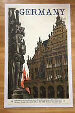 VERY RARE Original Vintage 1930's Large German Travel Poster Linen Backed DZUBAS