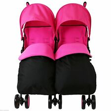 Zeta Citi TWIN Stroller Buggy Pushchair - Raspberry Pink Double With FootMuffs