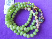 Betsey Johnson Authentic NWT G/T Green Bead Pave Owl and Fireball Wrap Bracelet