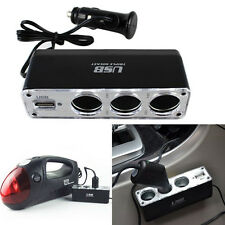 New Vogue 12V 3 Way Car Cigarette Lighter Spliter Sockets USB DC Adapter Charger