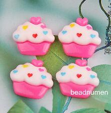 12pcs resin pink cake Scrapbook Craft Flatback decoration diy