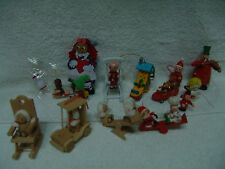 VNTG LOT OF 18 WOODEN CHRISTMAS ORNAMENTS MANY FIGURES & MORE FREE SHIPPING