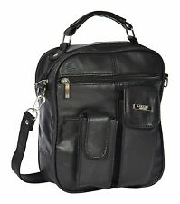 Mens Real Leather Cross Body Bag Grab Handle Tablet Phone Pouch Black NEW