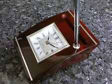 Polished Mahogany Wood Clock with Pen and Business card holder #15135
