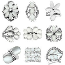 10 pcs Wholesale Lot Opal Rings Mixed Design White Gold Plated Fashion Jewelry