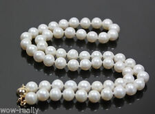 8-7MM Real Natural White Akoya Cultured Pearl necklace earring set 18""
