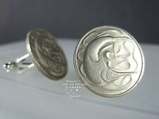 CUFFLINKS VINTAGE SINGAPORE SWORD FISH 20 CENT 1967 - 1985 SEA MARLIN COIN BOX