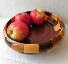 Vintage wooden fruit bowl Cambridge Ware 1950s 1960s Segmented turned wood dish
