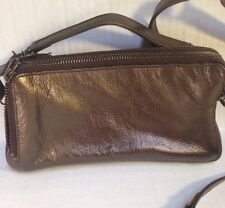 Latico Bronze Metallic Leather Shoulder Bag Purse Crossbody Clutch Wallet EUC