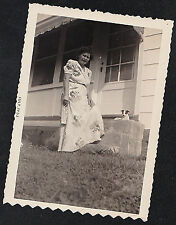 Vintage Antique Photograph Woman Standing With Tinsy Tiny Puppy Dog on Porch '53