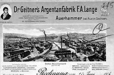 Dr. Geitner's Argentanfabrik F.A Lange Auerhammer Aue hist Rechnung 1906 Sachsen