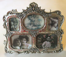 ORNATE Roses Silver Tone Picture Frame With * 5 * Openings