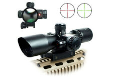 HOT Hunting Gun 2.5-10x40 Rifle Scope Red Laser Dual illuminated Mil-dot w/ Rail