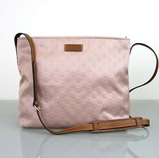 New Authentic GUCCI GG Guccissima Nylon Messenger Bag, Pink, 308840 6864