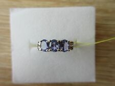 Tanzanite & Diamond Ring Platinum Overlay Sterling Silver Size 7