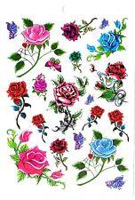 Temporay Körper Schmuck Tattoo Einmal Tatoo Tätowierung Bodyart Rose Blume