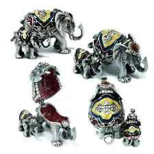 Elephant Baby Elephant & Mother Trinket Box w/ Austrian Crystal