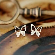 Jewelry Fashion Elegant Women Gold Butterfly Rhinestone Ear Stud Earrings
