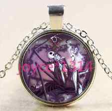 Nightmare Before Christmas Cabochon silver Glass Chain Pendant Necklace #2741