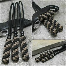 (3) Paracord Knife Lanyards - Tactical Survival Military Knives - BLACK / TAN