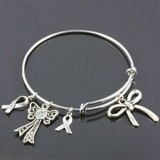 Tibetan Silver Bowknot Charms Dangle Pendant Bead Adjustable Bracelet Bangle