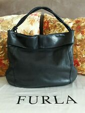 AUTHENTIC FURLA BLACK PEBBLED LEATHER LARGE HOBO SHOULDER BAG WITH DUSTBAG