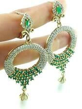 925 STERLING SILVER EMERALD EARRINGS TURKISH HANDMADE VICTORIAN JEWELRY E2599